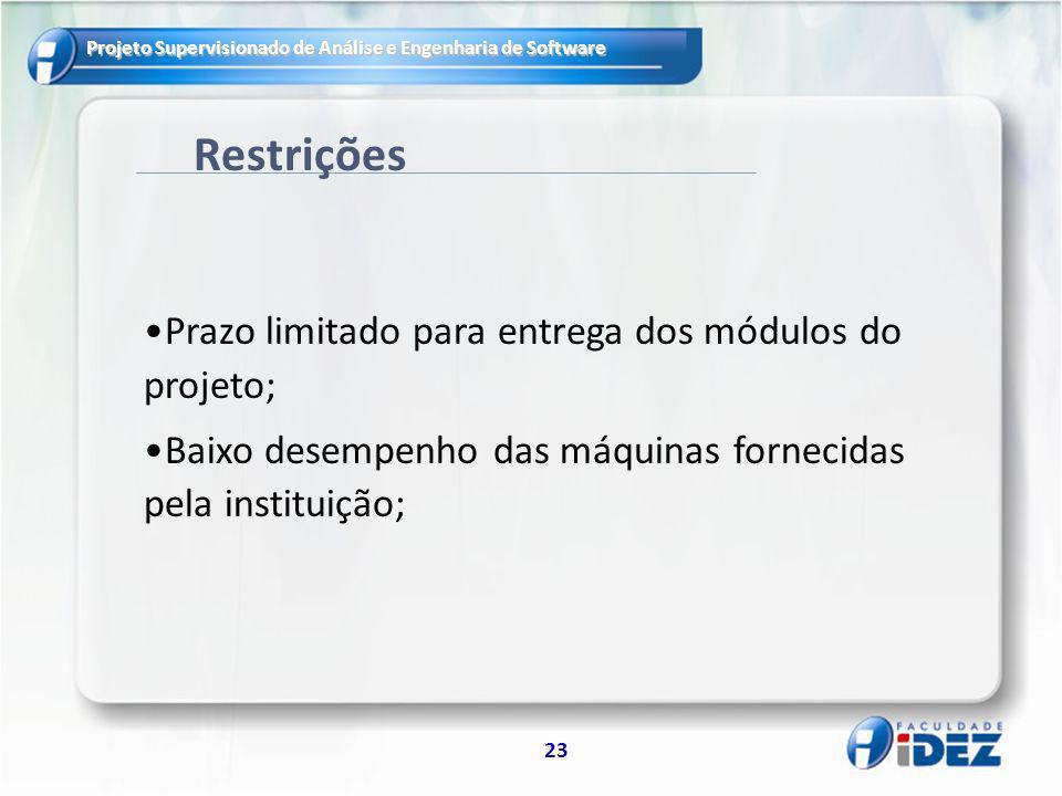 Projeto Supervisionado de Análise e Engenharia de Software 23 Restrições Prazo limitado para entrega dos módulos do projeto; Baixo desempenho das máqu