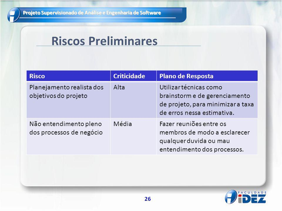 Projeto Supervisionado de Análise e Engenharia de Software 26 Riscos Preliminares RiscoCriticidadePlano de Resposta Planejamento realista dos objetivo