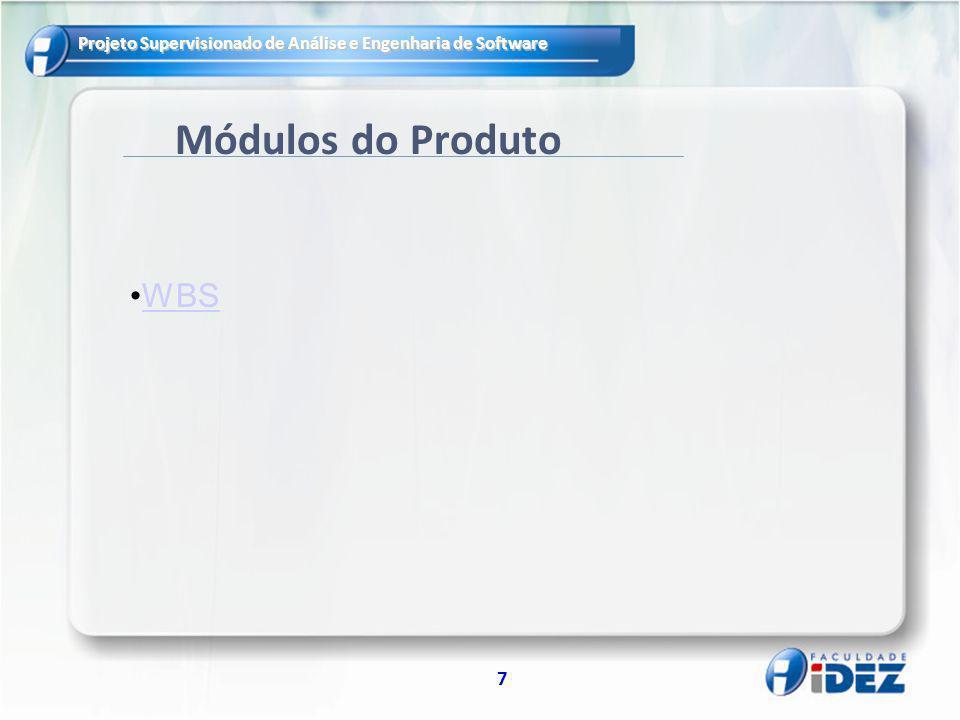 Projeto Supervisionado de Análise e Engenharia de Software 7 Módulos do Produto WBS