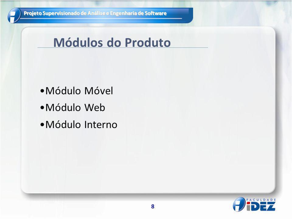 Projeto Supervisionado de Análise e Engenharia de Software 8 Módulos do Produto Módulo Móvel Módulo Web Módulo Interno