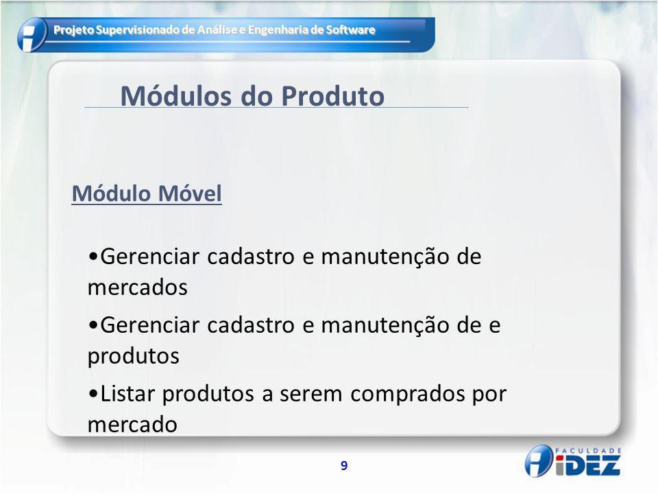Projeto Supervisionado de Análise e Engenharia de Software 9 Módulos do Produto Gerenciar cadastro e manutenção de mercados Gerenciar cadastro e manut
