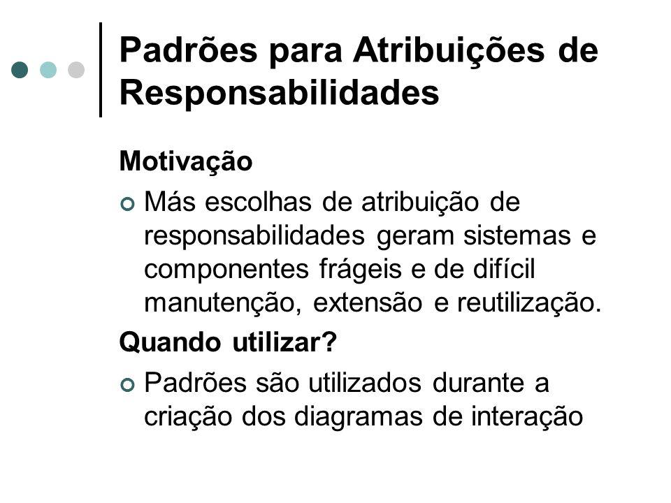Padrões para Atribuições de Responsabilidades Motivação Más escolhas de atribuição de responsabilidades geram sistemas e componentes frágeis e de difí