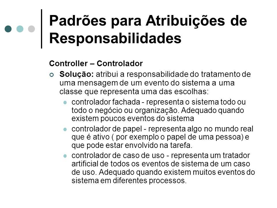 Padrões para Atribuições de Responsabilidades Controller – Controlador Solução: atribui a responsabilidade do tratamento de uma mensagem de um evento