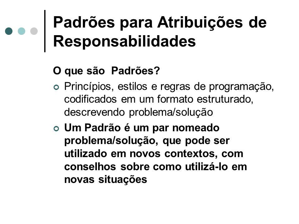 Padrões para Atribuições de Responsabilidades O que são Padrões? Princípios, estilos e regras de programação, codificados em um formato estruturado, d