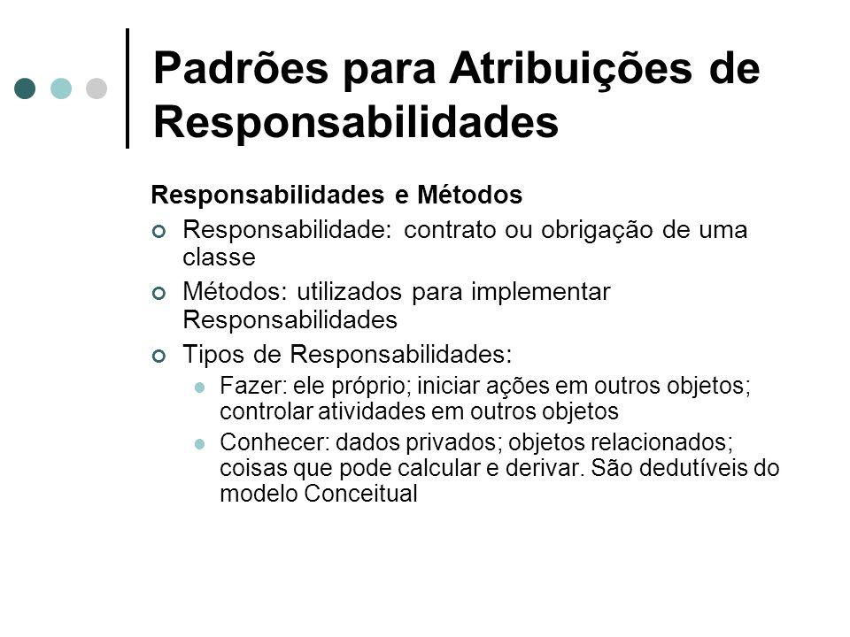 Padrões para Atribuições de Responsabilidades Responsabilidades e Métodos Responsabilidade: contrato ou obrigação de uma classe Métodos: utilizados pa