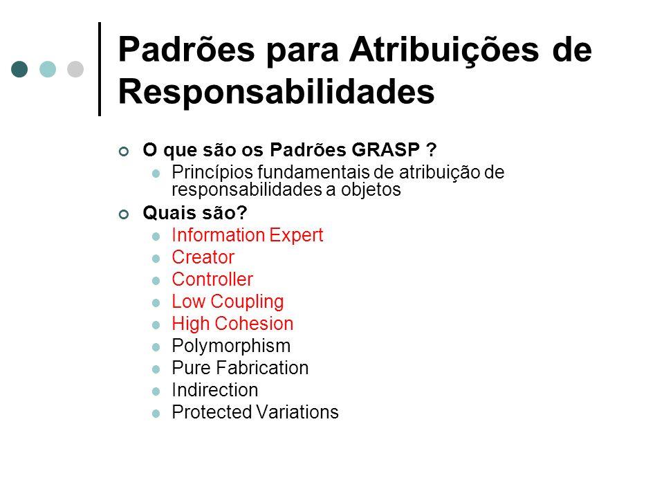 Padrões para Atribuições de Responsabilidades O que são os Padrões GRASP ? Princípios fundamentais de atribuição de responsabilidades a objetos Quais