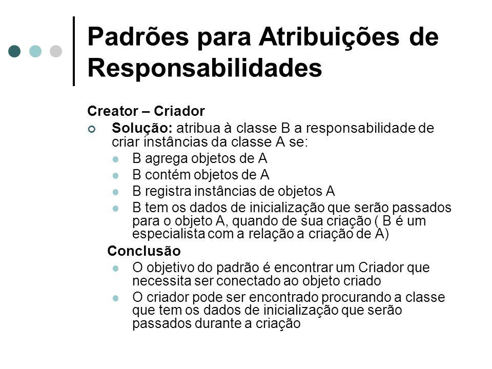 Padrões para Atribuições de Responsabilidades Low Coupling (Acoplamento Fraco) Solução: atribuir a responsabilidade de maneira que o acoplamento permaneça fraco.