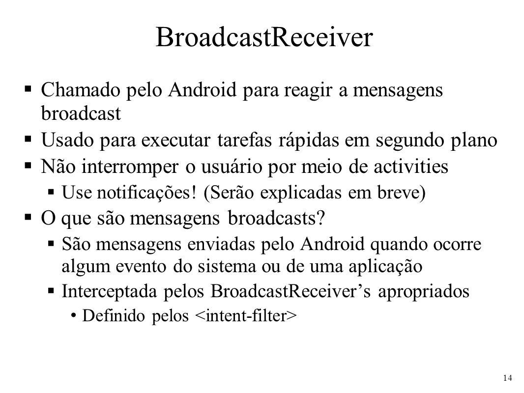 BroadcastReceiver Chamado pelo Android para reagir a mensagens broadcast Usado para executar tarefas rápidas em segundo plano Não interromper o usuário por meio de activities Use notificações.