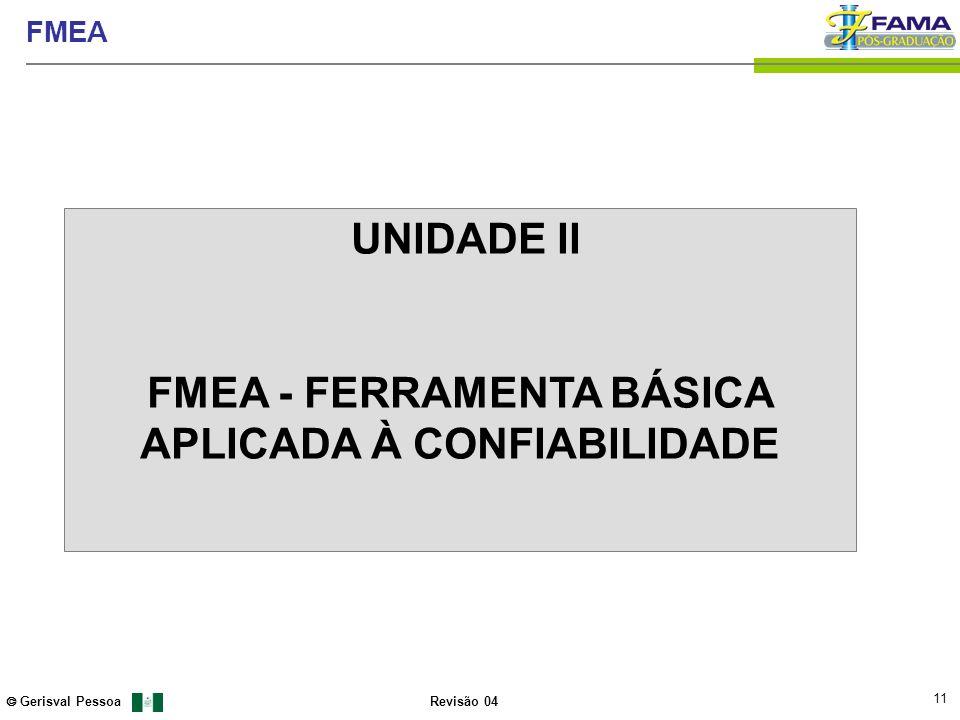 11 Gerisval Pessoa FMEA Revisão 04 UNIDADE II FMEA - FERRAMENTA BÁSICA APLICADA À CONFIABILIDADE