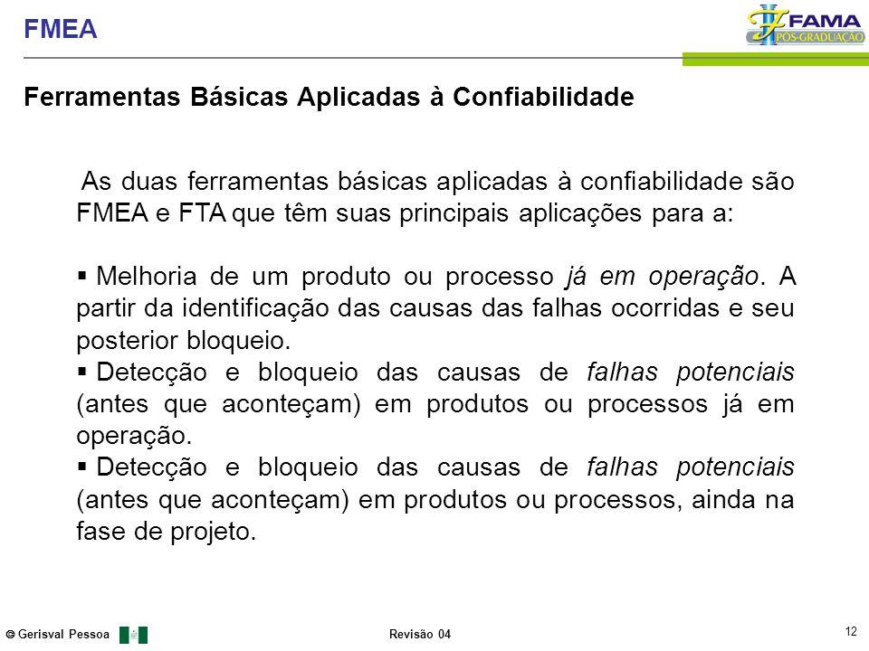 12 Gerisval Pessoa FMEA Revisão 04 As duas ferramentas básicas aplicadas à confiabilidade são FMEA e FTA que têm suas principais aplicações para a: Me