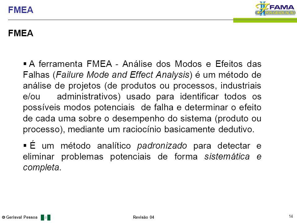 14 Gerisval Pessoa FMEA Revisão 04 FMEA A ferramenta FMEA - Análise dos Modos e Efeitos das Falhas (Failure Mode and Effect Analysis) é um método de a
