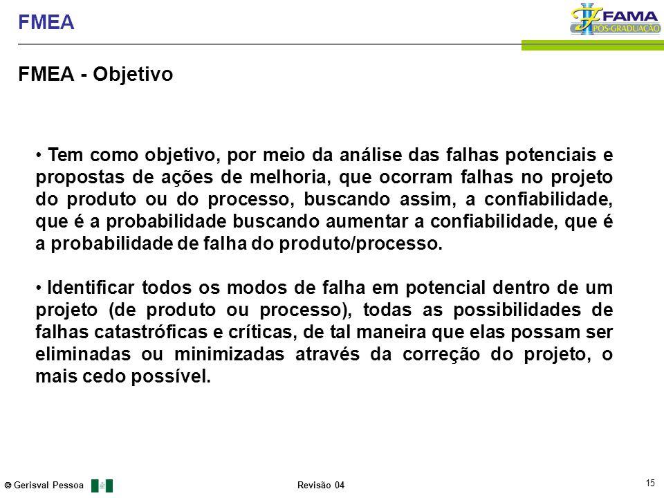 15 Gerisval Pessoa FMEA Revisão 04 FMEA - Objetivo Tem como objetivo, por meio da análise das falhas potenciais e propostas de ações de melhoria, que