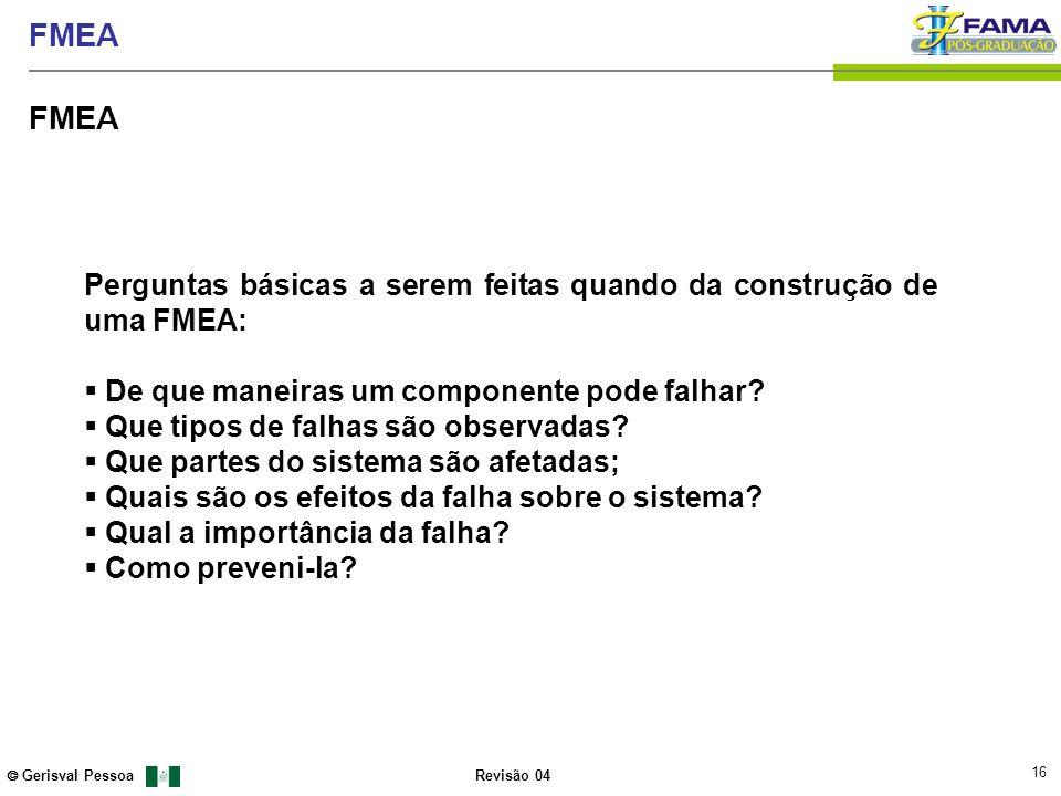 16 Gerisval Pessoa FMEA Revisão 04 FMEA Perguntas básicas a serem feitas quando da construção de uma FMEA: De que maneiras um componente pode falhar?
