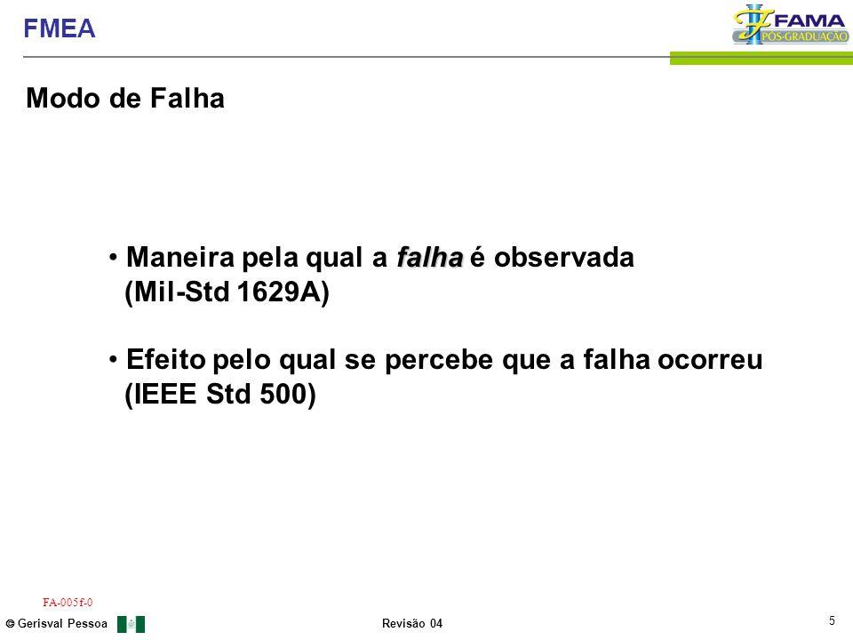 5 Gerisval Pessoa FMEA Revisão 04 FA-005f-0 falha Maneira pela qual a falha é observada (Mil-Std 1629A) Efeito pelo qual se percebe que a falha ocorre