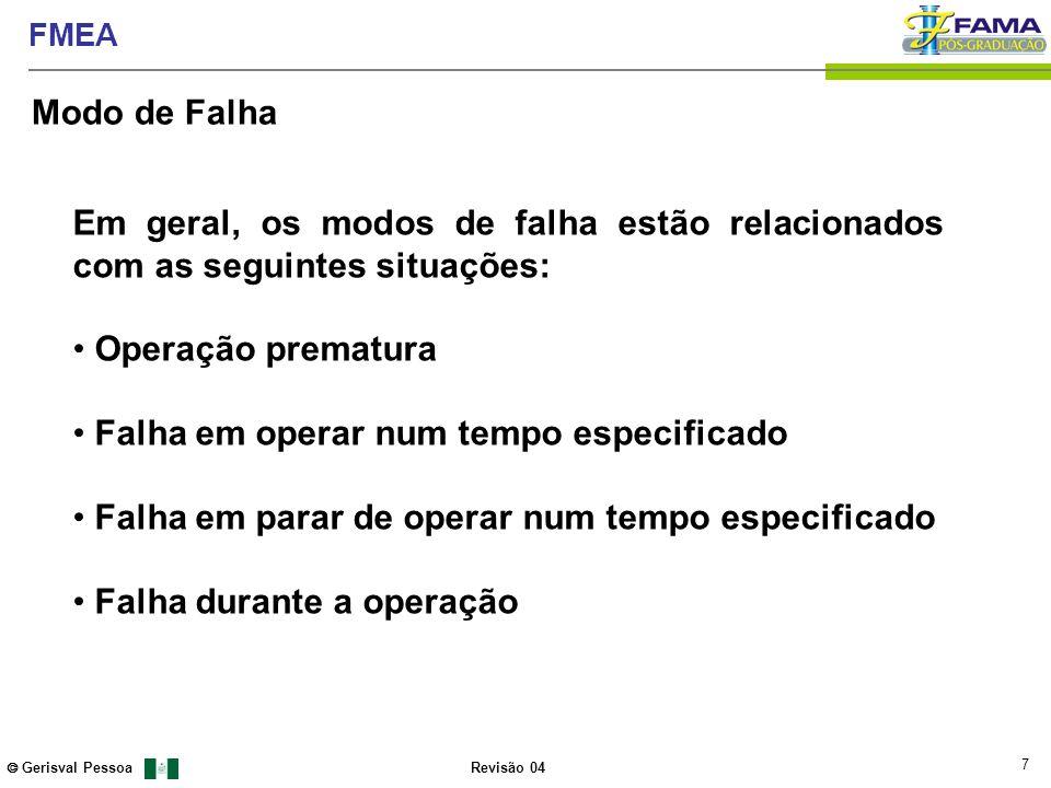 7 Gerisval Pessoa FMEA Revisão 04 Em geral, os modos de falha estão relacionados com as seguintes situações: Operação prematura Falha em operar num te