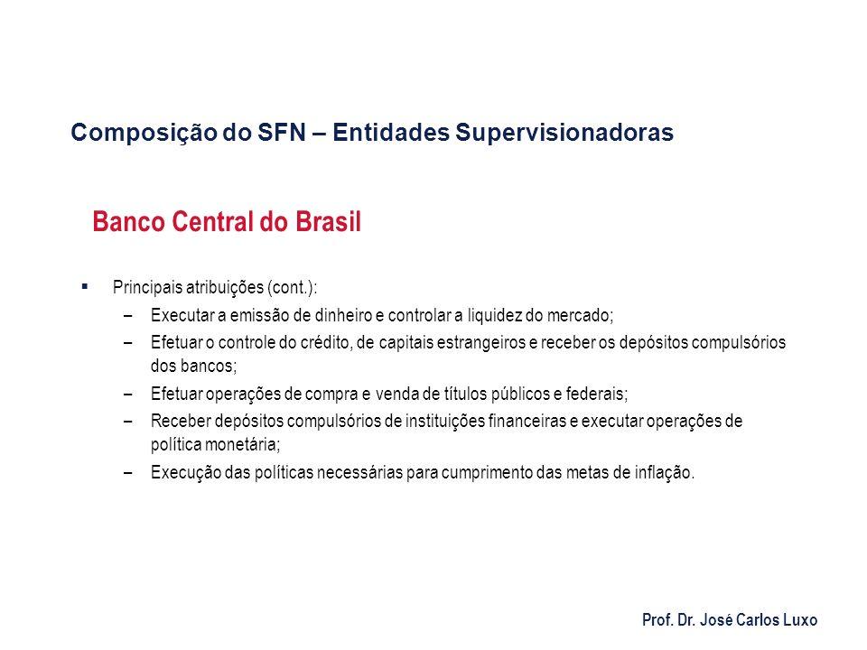 Prof. Dr. José Carlos Luxo Banco Central do Brasil Principais atribuições (cont.): –Executar a emissão de dinheiro e controlar a liquidez do mercado;