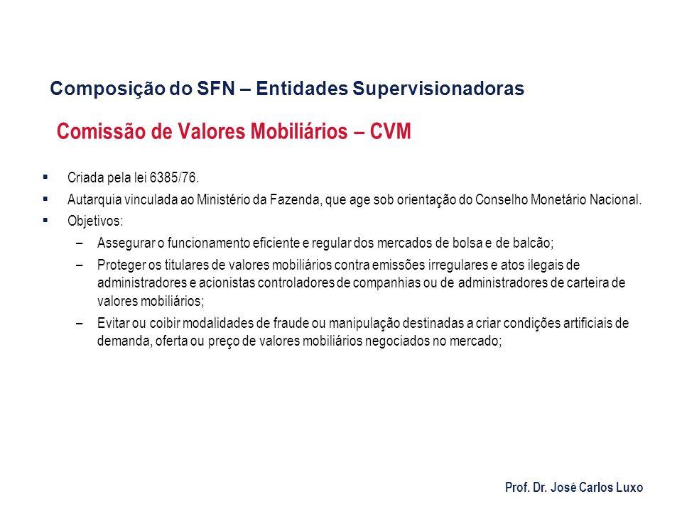 Prof. Dr. José Carlos Luxo Comissão de Valores Mobiliários – CVM Criada pela lei 6385/76. Autarquia vinculada ao Ministério da Fazenda, que age sob or