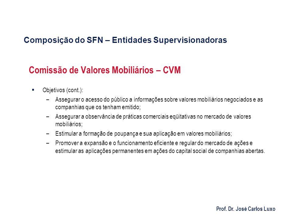 Prof. Dr. José Carlos Luxo Comissão de Valores Mobiliários – CVM Objetivos (cont.): –Assegurar o acesso do público a informações sobre valores mobiliá