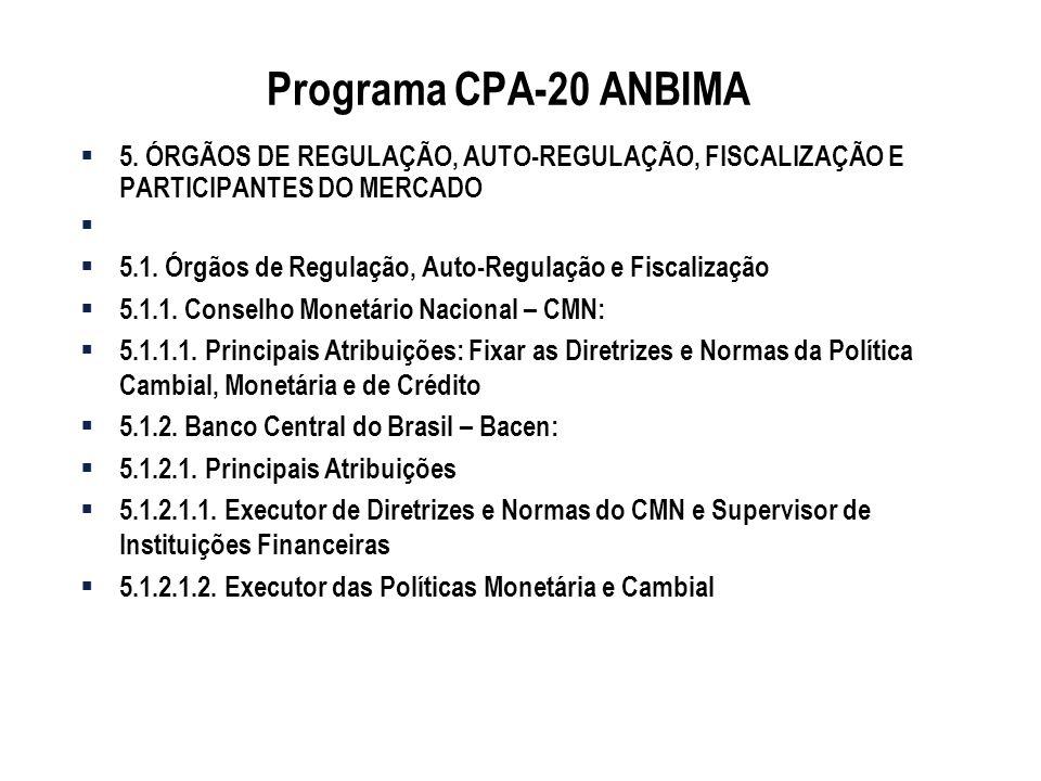 Programa CPA-20 ANBIMA 5. ÓRGÃOS DE REGULAÇÃO, AUTO-REGULAÇÃO, FISCALIZAÇÃO E PARTICIPANTES DO MERCADO 5.1. Órgãos de Regulação, Auto-Regulação e Fisc