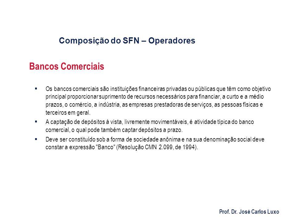 Prof. Dr. José Carlos Luxo Bancos Comerciais Os bancos comerciais são instituições financeiras privadas ou públicas que têm como objetivo principal pr