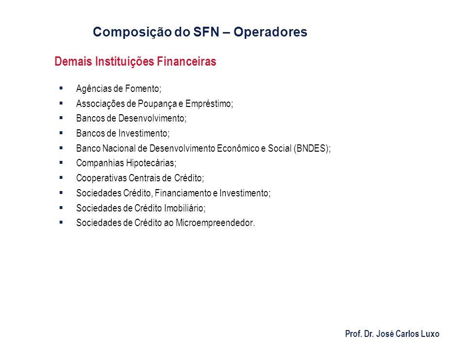Prof. Dr. José Carlos Luxo Demais Instituições Financeiras Agências de Fomento; Associações de Poupança e Empréstimo; Bancos de Desenvolvimento; Banco