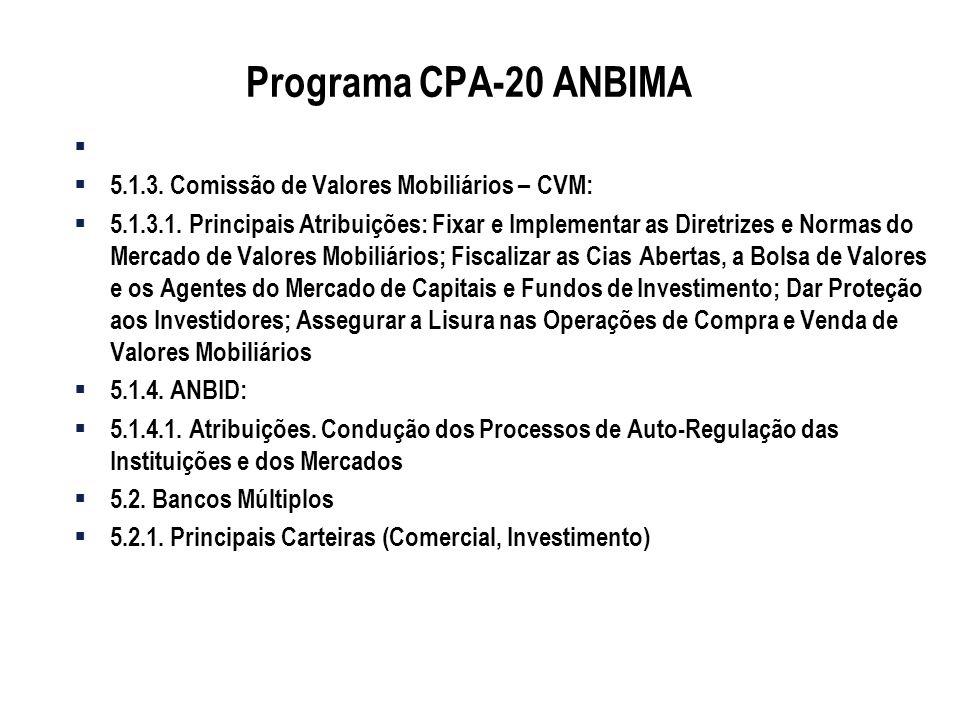 Programa CPA-20 ANBIMA 5.1.3. Comissão de Valores Mobiliários – CVM: 5.1.3.1. Principais Atribuições: Fixar e Implementar as Diretrizes e Normas do Me