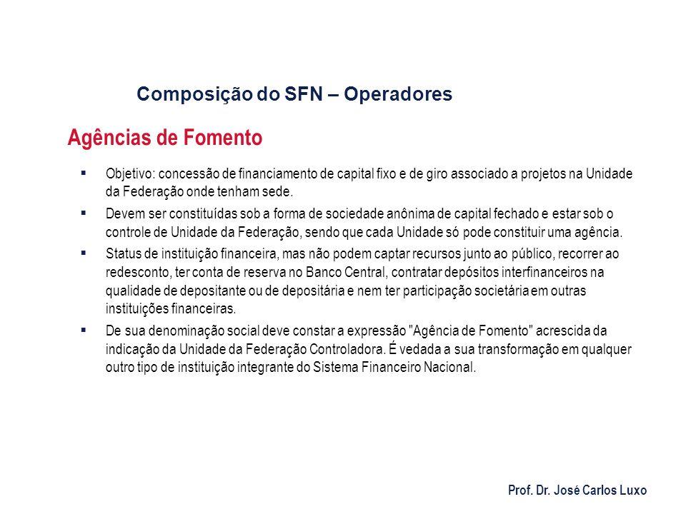 Prof. Dr. José Carlos Luxo Agências de Fomento Objetivo: concessão de financiamento de capital fixo e de giro associado a projetos na Unidade da Feder