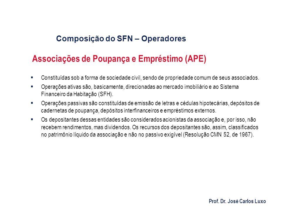 Prof. Dr. José Carlos Luxo Associações de Poupança e Empréstimo (APE) Constituídas sob a forma de sociedade civil, sendo de propriedade comum de seus