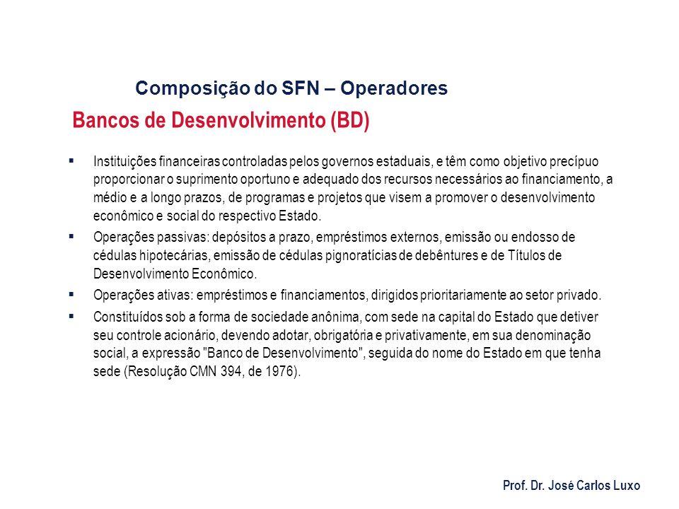 Prof. Dr. José Carlos Luxo Bancos de Desenvolvimento (BD) Instituições financeiras controladas pelos governos estaduais, e têm como objetivo precípuo
