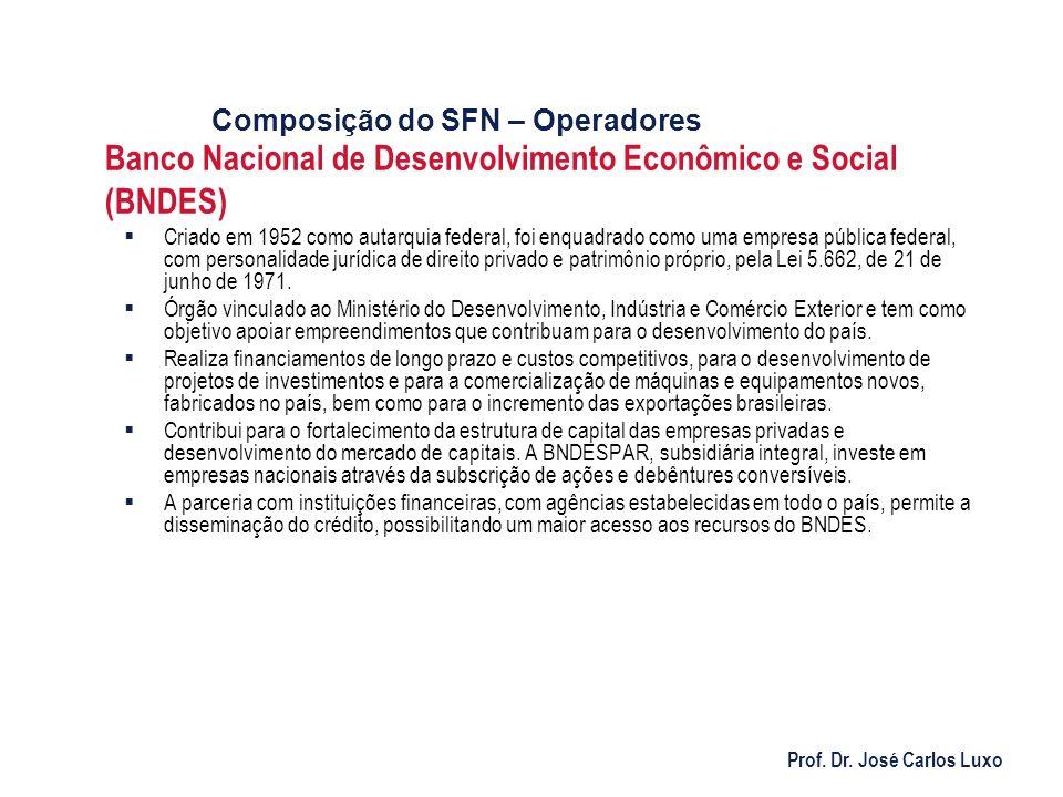 Prof. Dr. José Carlos Luxo Banco Nacional de Desenvolvimento Econômico e Social (BNDES) Criado em 1952 como autarquia federal, foi enquadrado como uma