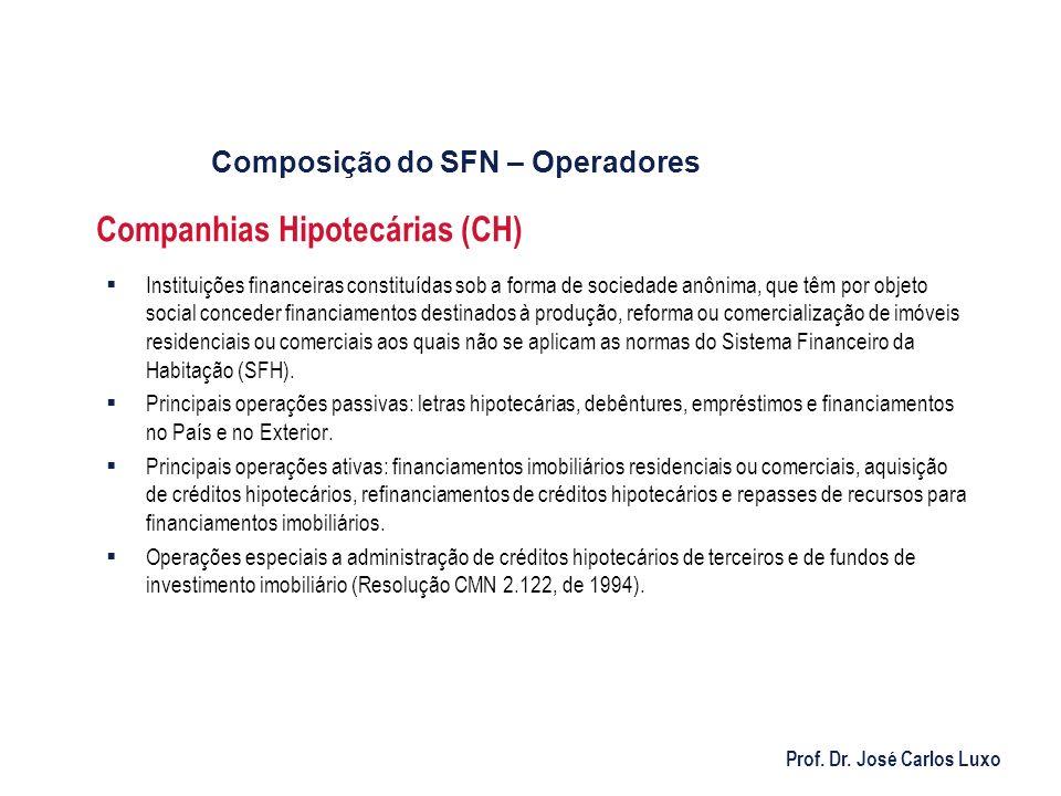 Prof. Dr. José Carlos Luxo Companhias Hipotecárias (CH) Instituições financeiras constituídas sob a forma de sociedade anônima, que têm por objeto soc