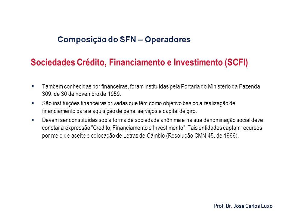 Prof. Dr. José Carlos Luxo Sociedades Crédito, Financiamento e Investimento (SCFI) Também conhecidas por financeiras, foram instituídas pela Portaria