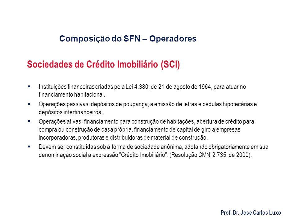 Prof. Dr. José Carlos Luxo Sociedades de Crédito Imobiliário (SCI) Instituições financeiras criadas pela Lei 4.380, de 21 de agosto de 1964, para atua