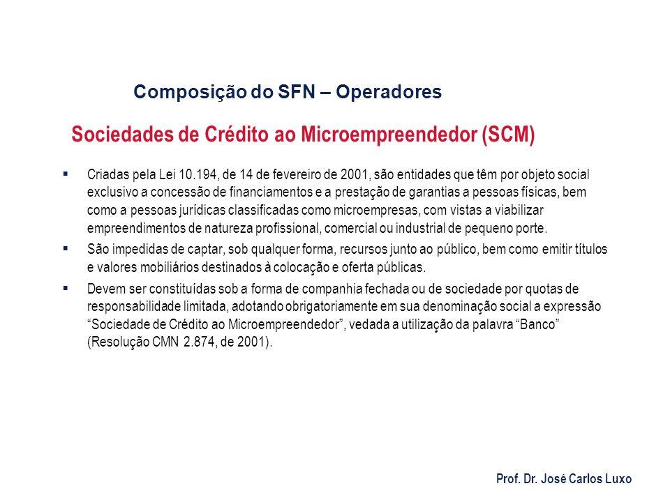 Prof. Dr. José Carlos Luxo Sociedades de Crédito ao Microempreendedor (SCM) Criadas pela Lei 10.194, de 14 de fevereiro de 2001, são entidades que têm