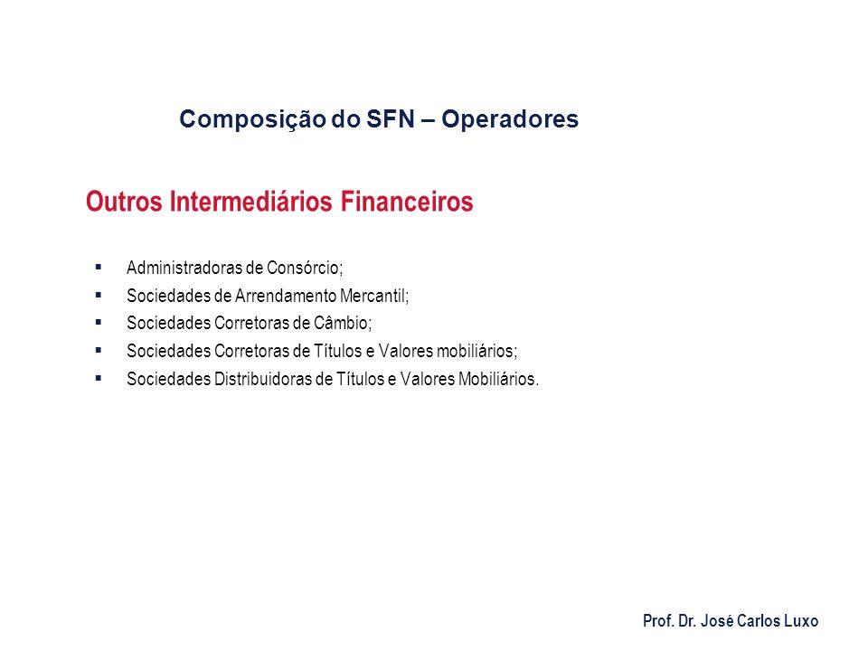 Prof. Dr. José Carlos Luxo Outros Intermediários Financeiros Administradoras de Consórcio; Sociedades de Arrendamento Mercantil; Sociedades Corretoras