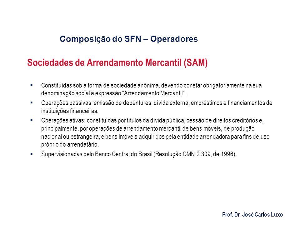 Prof. Dr. José Carlos Luxo Sociedades de Arrendamento Mercantil (SAM) Constituídas sob a forma de sociedade anônima, devendo constar obrigatoriamente