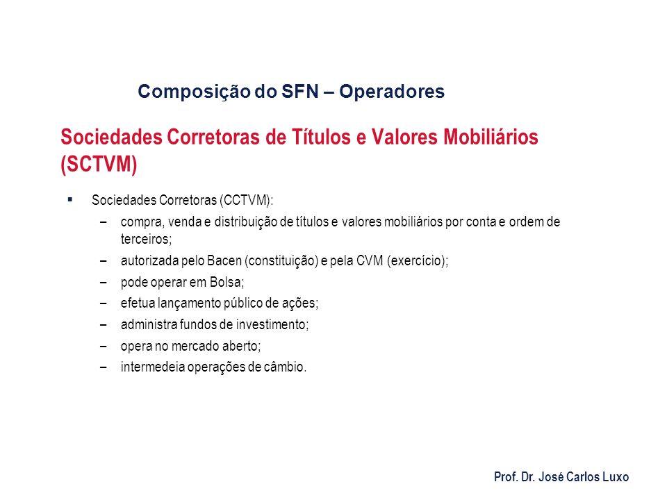 Prof. Dr. José Carlos Luxo Sociedades Corretoras de Títulos e Valores Mobiliários (SCTVM) Sociedades Corretoras (CCTVM): –compra, venda e distribuição