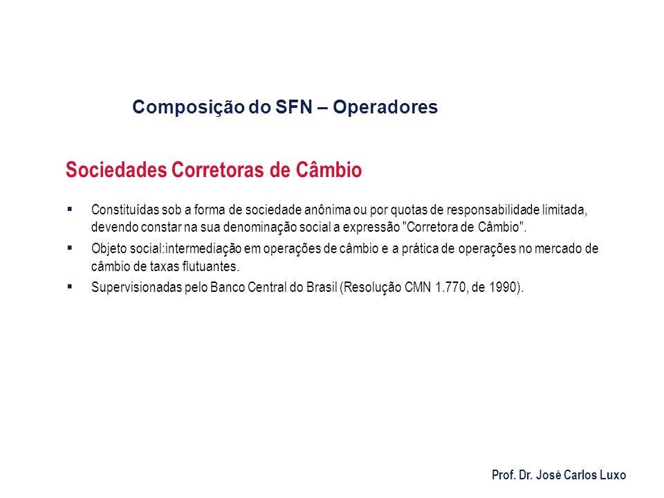 Prof. Dr. José Carlos Luxo Sociedades Corretoras de Câmbio Constituídas sob a forma de sociedade anônima ou por quotas de responsabilidade limitada, d