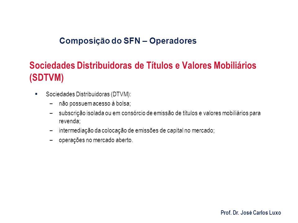 Prof. Dr. José Carlos Luxo Sociedades Distribuidoras de Títulos e Valores Mobiliários (SDTVM) Sociedades Distribuidoras (DTVM): –não possuem acesso à