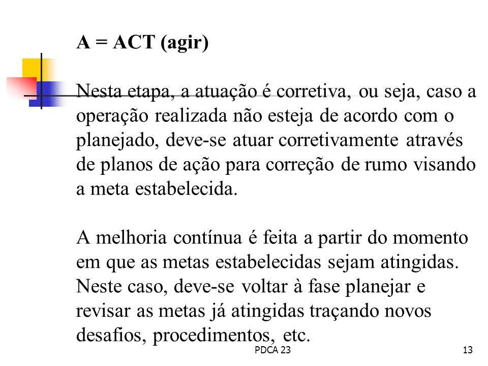 A = ACT (agir) Nesta etapa, a atuação é corretiva, ou seja, caso a operação realizada não esteja de acordo com o planejado, deve-se atuar corretivamen
