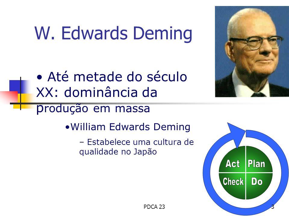 Até metade do século XX: dominância da p rodução em massa William Edwards Deming – Estabelece uma cultura de qualidade no Japão W. Edwards Deming 3PDC