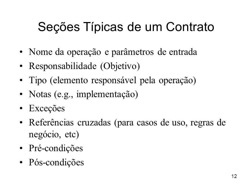 12 Seções Típicas de um Contrato Nome da operação e parâmetros de entrada Responsabilidade (Objetivo) Tipo (elemento responsável pela operação) Notas