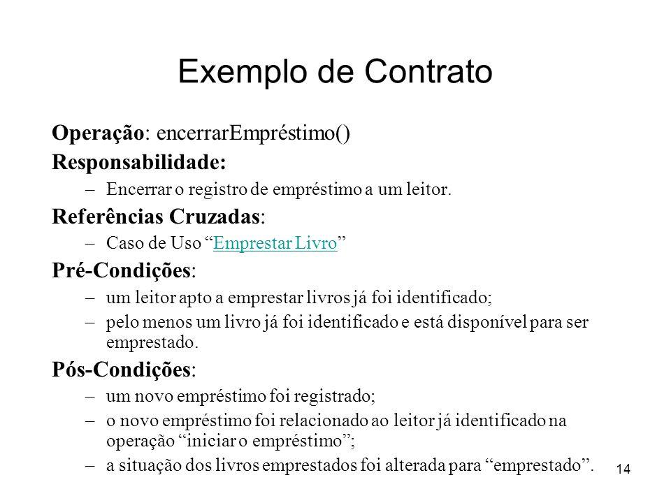 14 Exemplo de Contrato Operação: encerrarEmpréstimo() Responsabilidade: –Encerrar o registro de empréstimo a um leitor. Referências Cruzadas: –Caso de