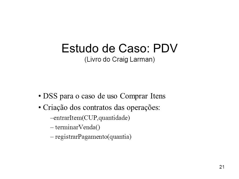 21 Estudo de Caso: PDV (Livro do Craig Larman) DSS para o caso de uso Comprar Itens Criação dos contratos das operações: –entrarItem(CUP,quantidade) –