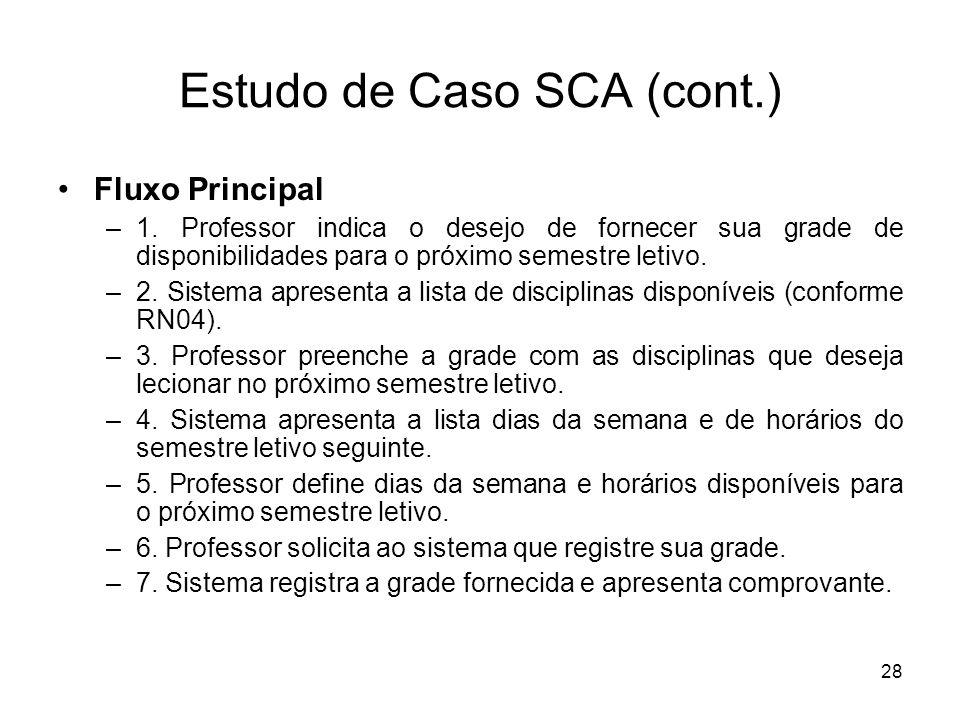 28 Estudo de Caso SCA (cont.) Fluxo Principal – 1. Professor indica o desejo de fornecer sua grade de disponibilidades para o próximo semestre letivo.