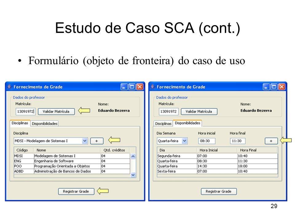 29 Estudo de Caso SCA (cont.) Formulário (objeto de fronteira) do caso de uso