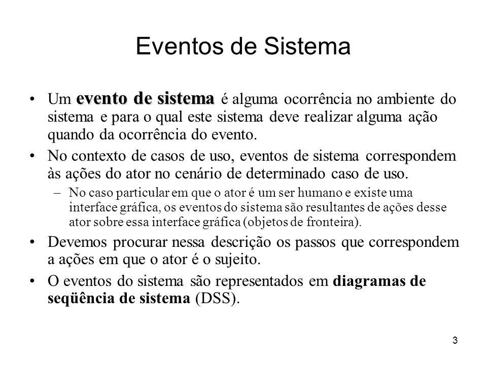3 Eventos de Sistema evento de sistemaUm evento de sistema é alguma ocorrência no ambiente do sistema e para o qual este sistema deve realizar alguma