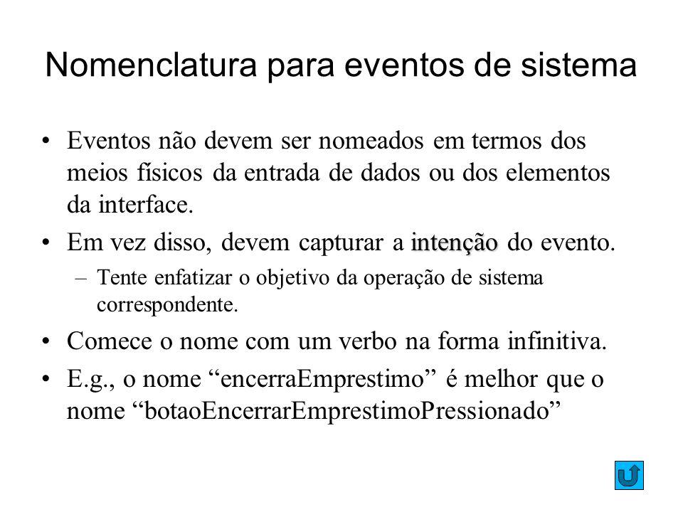32 Nomenclatura para eventos de sistema Eventos não devem ser nomeados em termos dos meios físicos da entrada de dados ou dos elementos da interface.