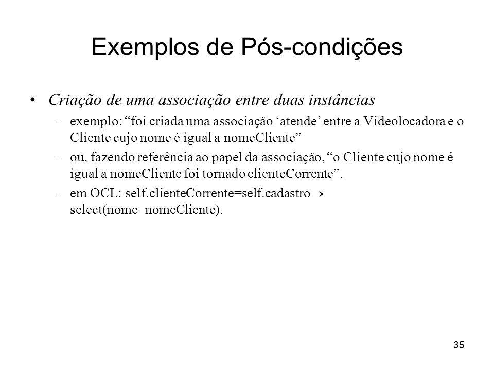 35 Exemplos de Pós-condições Criação de uma associação entre duas instâncias –exemplo: foi criada uma associação atende entre a Videolocadora e o Clie