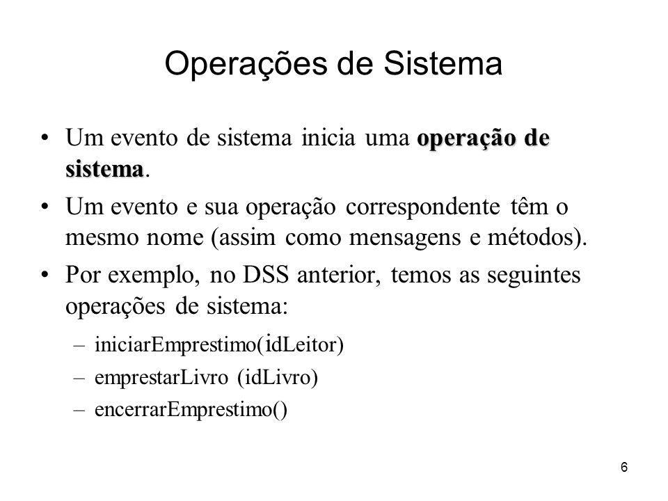 6 Operações de Sistema operação de sistemaUm evento de sistema inicia uma operação de sistema. Um evento e sua operação correspondente têm o mesmo nom